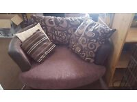 Sofa and cuddle chair excellent condition with storage pouffe