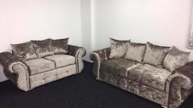 Crushed velvet sofa.
