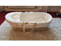 Moses basket ( Cream ) with rocking stand £30 call 07843149543