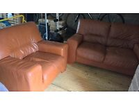 Hazel Brown single & two seater leather sofa