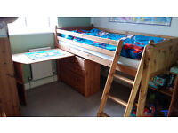 THUKA Mid-sleeper solid wood pine bed frame with wartrobe and bookcase