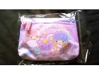 Cute Sanrio LITTLE TWIN STARS Two Zip Pouch Coins Bag