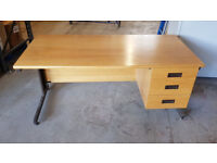 Used Wooden Office Desk 3 Draws Computer Table Work Station Home Study Business