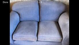 Small blue sofa.
