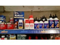 Wood Glue, Wood Treatment, Wood Dye, Adhesives for all materials, All New and Unopened, Great Prices