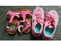 Clarke sandals (size 9.5) & Lacoste pink shoes (size 10)