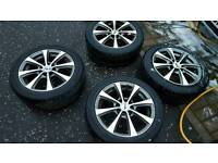 4 stud Multi Fit 15 inch Alloy wheels with great tyres.