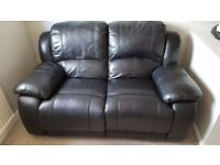 Leather reclining 2 seater sofa. Good condition.