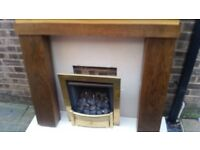 Gas Fire with Marble Hearth,back plate and wooden fire surround