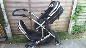 Kidz Kargo Duelette DS double pushchair, pram tandem black