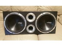 CAR TWIN SUBWOOFER VIBE CBR 12 3000 WATT WITH PORTED ENLOSURE DOUBLE SUB WOOFER BASS BOX
