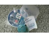 Steriliser used. New bottles/teets. Manual breast pump.