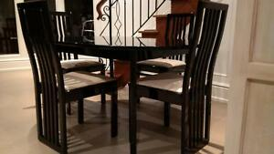 Black Lacquered Dining Table and 4 tall chairs