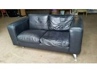 Black Leather 2 Seater Sofa