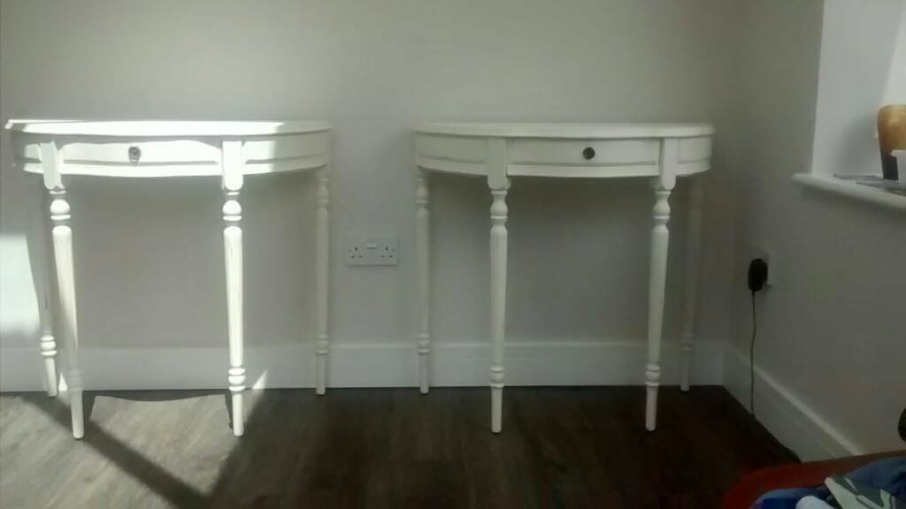 Shabby chic console tables x 2in Bournemouth, DorsetGumtree - 2 x shabby chic console tables. With drawer. Painted in Rustoleum chalky finish flat matt finish in antique white and waxed with rustoleum furniture finishing wax. 80 cm wide x 40 cm deep and 76cm high. From a smoke and pet free home. Happy to sell...