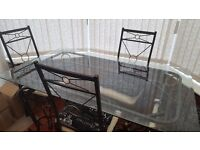Elegant Dining table and 4 chairs, glass and metal