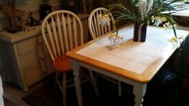 QUALITY PINE/WHITE TABLE AND CHAIRS POSS.DEL.£75