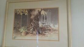 Beautiful framed print of 'Bicycle in France' - white wood frame - 72cm x 57 cm approx