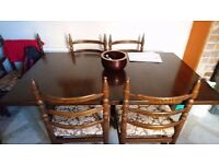 Solid Dark Ash Wood Extending Dining Table & 6 Chairs (2 Carvers)