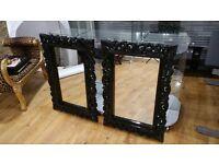Black High Gloss Wall Mirror x 2
