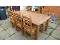 Corona mexican pine dining table and 6 chairs