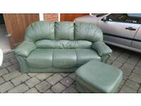 Italian leather sofa with footstall