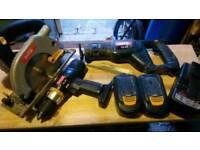 Ryobi 18v cordless set: drill, reciprocating saw, circular saw, 2 x batteries and charger