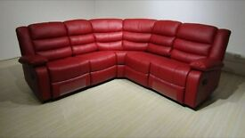 Roma Corner White or Red Leather Recliner Cupholder Sofa Band New Boxed Free Delivery & Home Setup