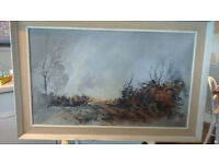 "S C Ortchison oil on board painting - titled ""Fieldhead"""