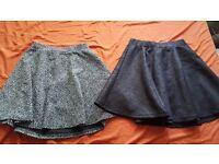Skater skirt bundle, black and white skater skirt, black wet look floral skater skirt, size 6, £10
