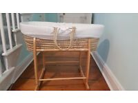 Moses Basket and Stand - Claire De Lune (Including Liner and Blankets)