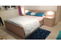 David Phipp Double Bed with Fitted Headboard, Lights & Drawers