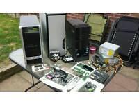 "Job lot of desktop pc parts "" ram ' graphics cards ' power supplies ' cases ect"