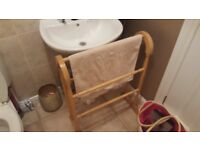Vintage Retro Style Country Cottage Style Pine Towel Rail Bathroom Rail