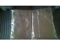 2 Grey Ring Silk Embossed Line Curtains 66x54