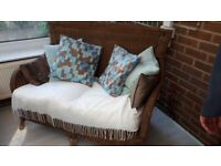 CONSERVATORY GARDEN CHAIR, 2 SEATER SOFA AND WICKER OTTOMAN / BLANKET BOX WICKER