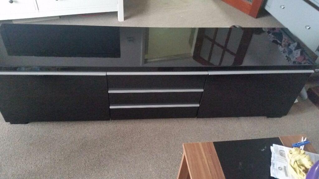 Ikea Besta Burs Black Gloss Tv Unit In Aveley Essex