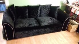 Crushed velvet sofa suite