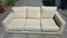 3 Seater Cream Leather Sofas X2 90.00 For Both Very Comfortable Bargain Price
