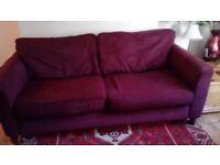 2 seat sofa, burgandy wine colour. Reasonable condition