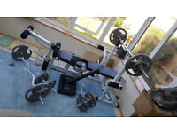 Multi Gym Bench with Tri Grip Cast Iron Weights
