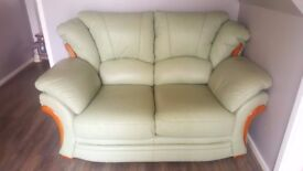 Italian Leather 3 Seater and 2 Seater Sofas, Mint Green, Good Condition
