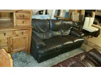 3 seater sofa in brown leather all reclinging £75 delivered