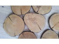 9 Beautiful log slices -for vintage/rustic style table centres for wedding 45 pounds for all