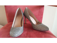 Silver Sparkly Ladies Shoes - Heels 3.5 inch from Next - Size 7