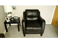 Black large Two seater and chair excellent condition