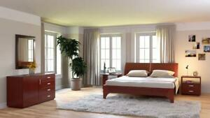 100% Canadian Made 5 Piece Hardwood Cherry or Walnut Bedroom Set. *BRAND NEW*  0% Financing Available.