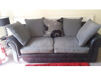 Grey and Black fabric 3 seater sofa, black leather gaming chair and large mirror £150 for everything
