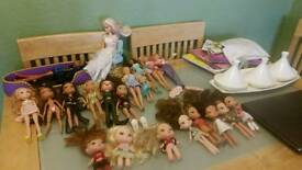 BRATZ BARBIE MONSTER HIGH MOXIE GIRL DOLLS AND BED FOR SALE CHEAP £1-3