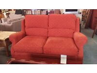 Red fabric highback 2 seater and electric recliner chair